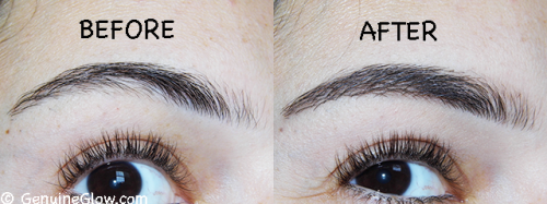 Eyebrow Routine Before and After with bareMinerals brow powder and Jane Iredale Pure Fix Brow Gel